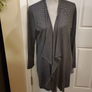 JM Collection Lg Charcoal Beaded Sweater New
